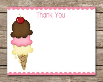 Ice Cream Party Thank You Cards, Ice Cream Thank You, Ice Cream Birthday Thank You, Icecream Thank You, Ice Cream Cone, INSTANT DOWNLOAD