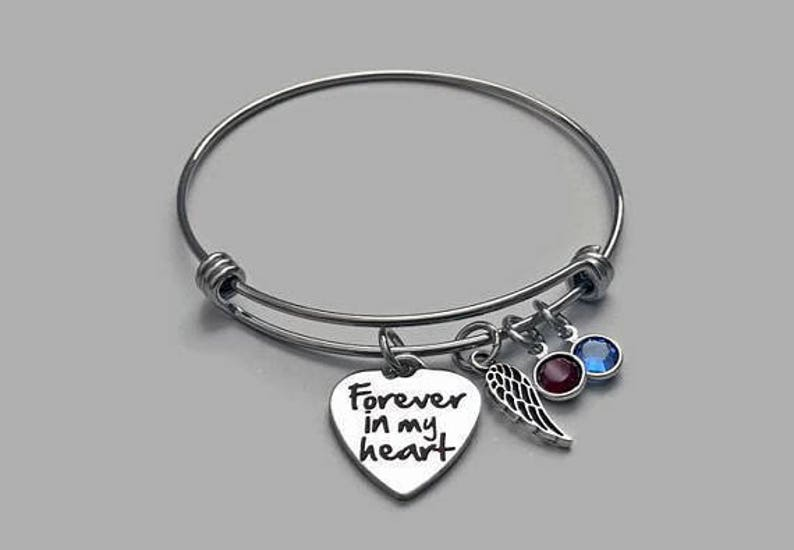 c8abd83d1a8e3 Forever In My Heart Bracelet, Always In My Heart, Memorial Bracelet, Angel  Wing, Stainless Steel Bangle, Genuine Swarovski Birthstone