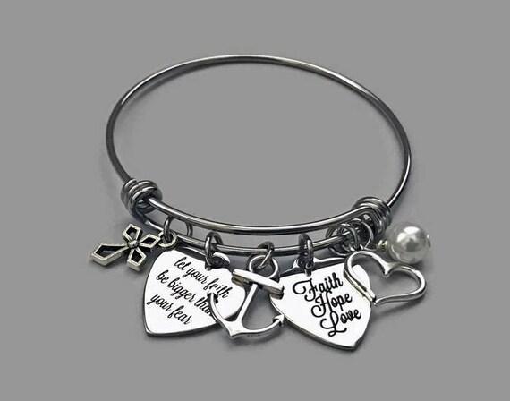 Faith Hope Love Bangle, Faith Charm Bracelet, Inspirational Bracelet, Faith  Bracelet, Anchor Charm, Cross Charm, Stainless Steel Bangle