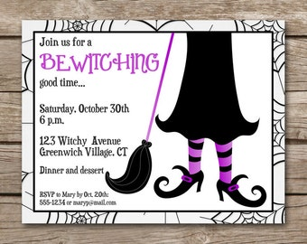 PRINTABLE Witch Invitation, Halloween Witch Invitation, Halloween Party Invitation, Witch Invitation, Broomstick Invitation, Witch Feet