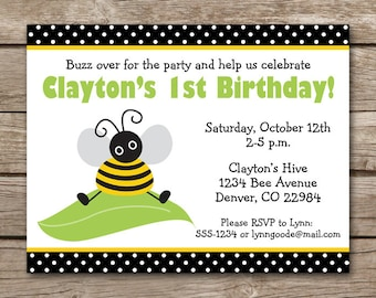 Bee Birthday Invitation, Bee Party Invitation, Bee Invitation, Bumblebee Invitation, Bumblebee Birthday, Bee Invite, PRINTABLE