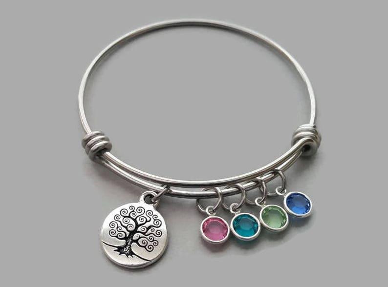 11095b5f1e883 Family Charm Bracelet, Family Tree Charm Bracelet, Charm Bangle, Tree Of  Life Bracelet, Stainless Steel Bangle, Genuine Swarovski Birthstone