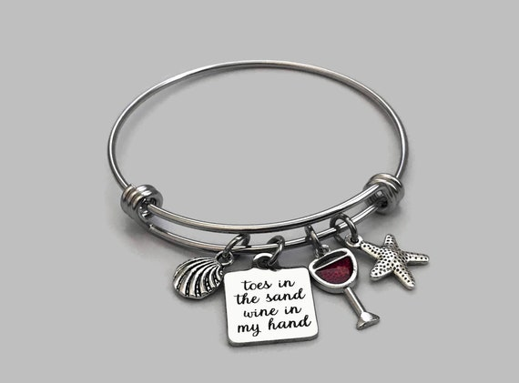 TOES in the SAND kind of GIRL Stainless Initial Charm Stainless Saying Charm Stainless Steel Bracelet Stainless Steel Starfish Charm