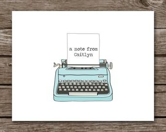 PRINTABLE Typewriter Note Cards, Typewriter Cards, Typewriter Notecards, Typewriter Stationery, Personalized Note Cards
