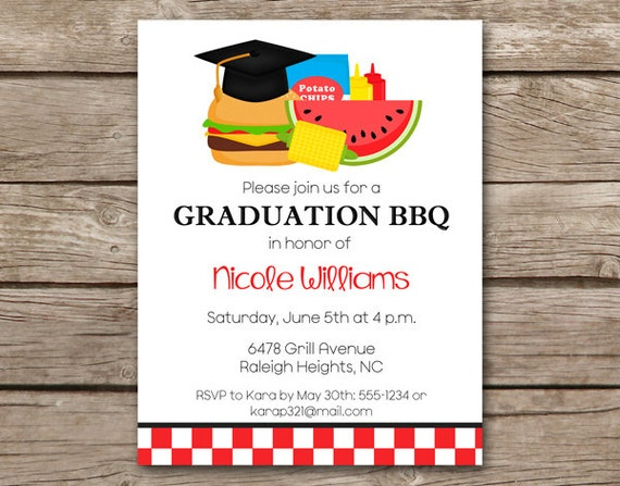graduation bbq invitation bbq invitation graduation cookout etsy