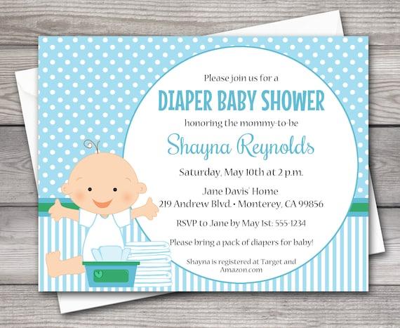 Printable Diaper Baby Shower Invitation Diaper Shower Invitation Boy Baby Shower Invitation Diaper Party Invitation