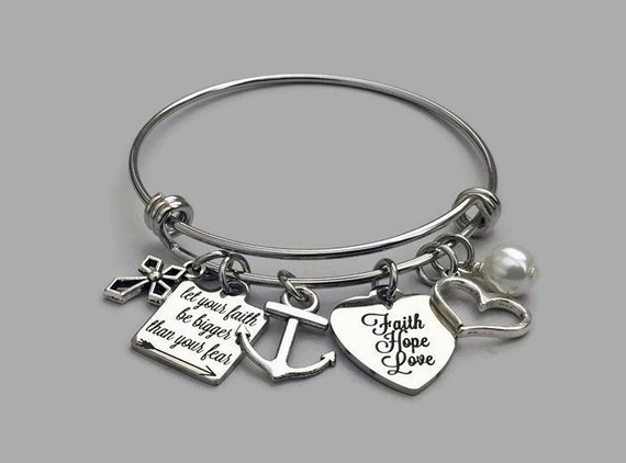 Faith Over Fear Quote Pendant Inspirational Word Charm Stainless Steel Silver