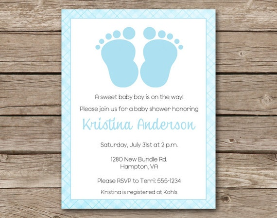 Boy Baby Shower Invitation Baby Feet Invitation Baby Feet Etsy