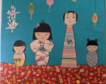 mixed media art Matryoshka dolls and Daruma collage titled Fed Up