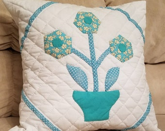 Decorative Pillow Cover, sixteen inch pillow covet, Hand quilted pillow cover, blue, white, appliqued pillow cover