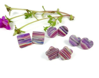 Polymer Clay Stud Earrings, Marbled Translucent Purple Square, Circle, Heart and Flower, Gift For Girl