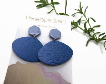 Lilac and Periwinkle Blue Polymer Clay Earrings, Spiral Pattern Dangles, Birthday Gift Idea for Best Friend