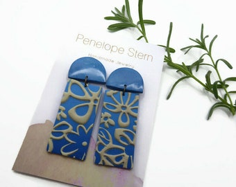 Ombre Blue Polymer Clay Earrings, Cream Floral Lace Pattern Earrings, Handmade Statement Jewelry Gift Idea for Sister