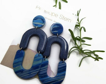 Navy Blue Striped Arch Polymer Clay Earrings, Dramatic Handmade Statement Dangles Gift Idea For Women