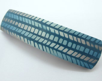 Teal Blue Gray Polymer Clay Hair Barrette, Mosaic Design, Gift Idea for Girl with Long Hair
