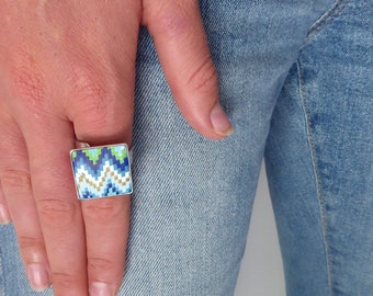 Blue Polymer Clay Bargello  Ring, Zigzag Adjustable Ring, Fun Gift For Girl