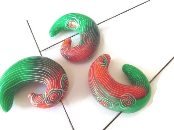 Hand Crafted Polymer Clay /& Sterling Silver Lime Green Spiral Bead Earrings Beads