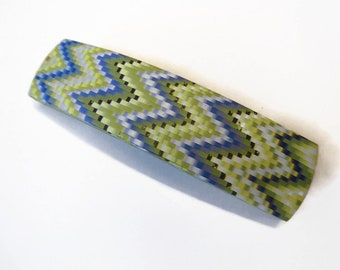 Polymer Clay Bargello Zig Zag Hair Barrette, Blue Lime Striped, Unique Friend Gift Present For Daughter