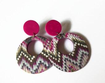 Bargello Polymer Clay Earrings, Zig Zag Pattern, Gift For Best Friend