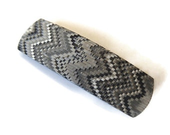 Gray Black White Bargello Polymer Clay Hair Barrette, Gift For Girl With Long Hair
