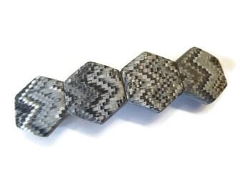 Hexagonal Zig Zag Polymer Clay Hair Barrette, Gray Black White Monochrome, Gift For Teacher