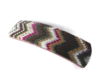 Polymer Clay Bargello Barrette, Zigzag Pattern, Gift For Long Haired Girl.