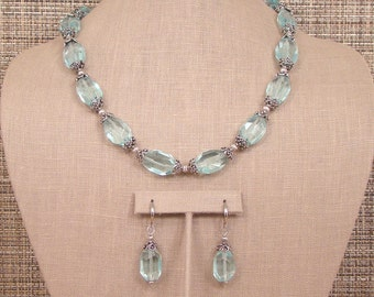 Ice Bleu - Light Blue Faceted Quartz and Antiqued Bali Sterling Silver Necklace.