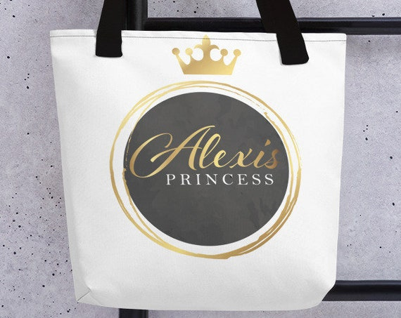 Personalized Crown Tote (gold) - Large Tote - Custom Bag - Custom Gifts - Monogram Bag - Initials - Name - Branding - Customized Gifts