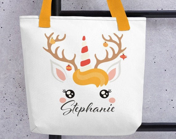 Custom Christmas Tote - Unicorn Llama Reindeer - Personalized Christmas Gifts - Secret Santa Gifts - Cute Christmas Bag- Purse