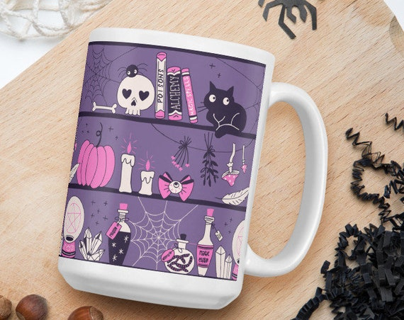 Witch's Shelves - Glossy Ceramic Coffee Mug - Halloween Mug - Black Cat - Purple Mug - Witch's Brew