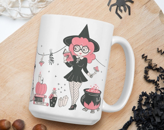 Pink Witch - Glossy Ceramic Coffee Mug - Witch's Brew - Halloween - Cute - Witch Gifts