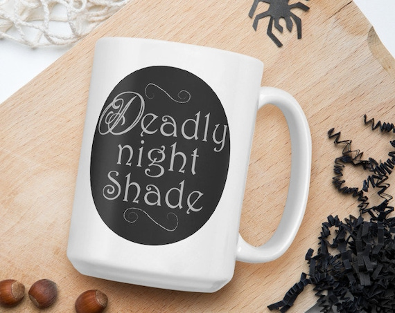 Deadly Night Shade - Glossy Ceramic Coffee Mug - Fan Inspired Nightmare Before Christmas - Halloween - Jack and Sally