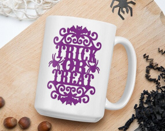 Trick Or Treat - Glossy Ceramic Coffee Mug - Spooky - Halloween - Fall - Autumn - Witch