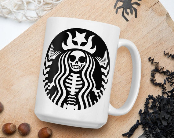 Starbucks Skeleton - Glossy Ceramic Coffee Mug - Fan Inspired - Halloween - Skull - Spooky - Coffee Lover