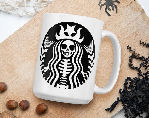 Starbucks Skeleton -  Ceramic Coffee Mug - Fan Inspired - Halloween - Skull - Spooky - Coffee Lover