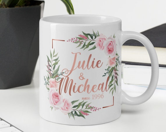 Custom Pink Roses Mug (square) - Personalized Coffee Mug - Initials - Monogram - Name - Wedding - Anniversary - Custom Gifts