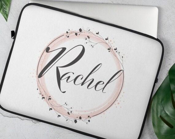 Custom Flower Buds Laptop Sleeve (round) - Personalized Gifts - Initials - Monogram - Name - Wedding - Anniversary - Custom Gifts