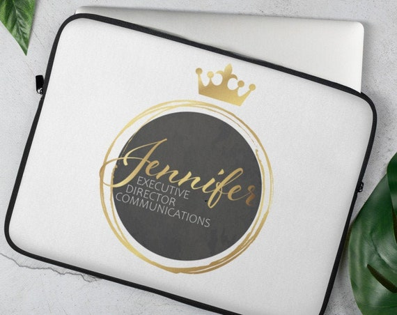 Personalized Crown Laptop Sleeve (gold) - Personalized Gifts - Initials - Monogram - Name - Wedding - Anniversary - Custom Gifts