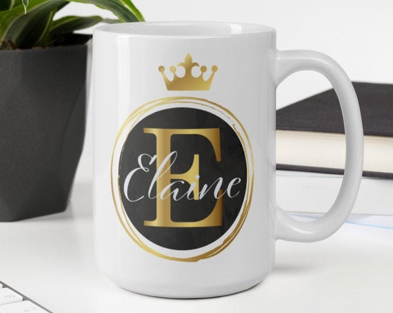 Personalized Crown Mug (gold) - Personalized Coffee Mug - Initials - Monogram - Name - Wedding - Anniversary - Custom Gifts