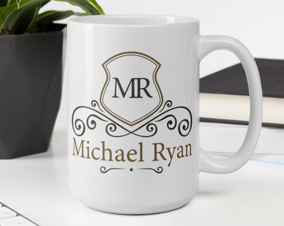 Personalized Vintage Mug (shield) - Custom Coffee Mug - Initials - Monogram - Name - Wedding - Anniversary - Custom Gifts