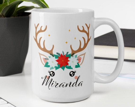 Custom Christmas Mug - Unicorn Llama Reindeer - Personalized Christmas Gifts - Secret Santa Gifts - Cute Christmas Mug - Coffee Tea Mug