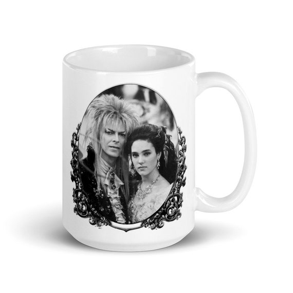 Jareth and Sarah  - Glossy Ceramic Mug - Coffee - Graphic - Retro - Labyrinth Movie - Goblin King - Fantasy