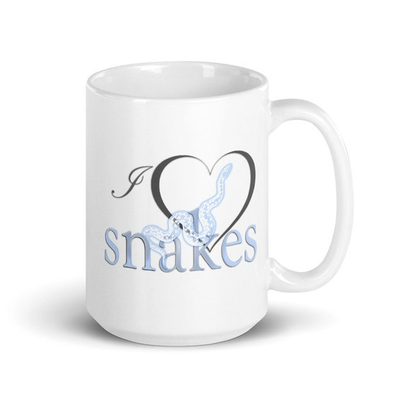 I Love Snakes - Glossy Ceramic Mug - Coffee - Graphic - Snakes - Reptiles - Ball Python - Boa - Snake