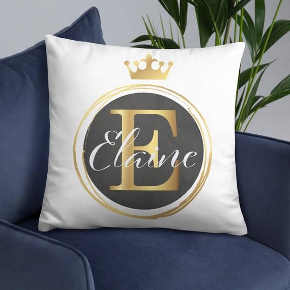 Personalized Gold Crown Throw Pillow - Custom Pillow - Customized Decor - Name - Initials - Brand Name - Monogram