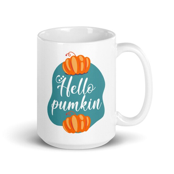 Hello Pumpkin - Glossy Ceramic Coffee Mug - Cute - Hello Fall - Hello Autumn - Pumpkin Spice