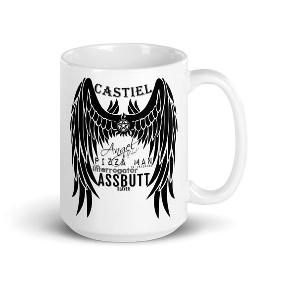Castiel (black) - Glossy Ceramic Mug - Graphic - Coffee - Supernatural - Funny - Assbutt - Angel - Fantasy - Winchester