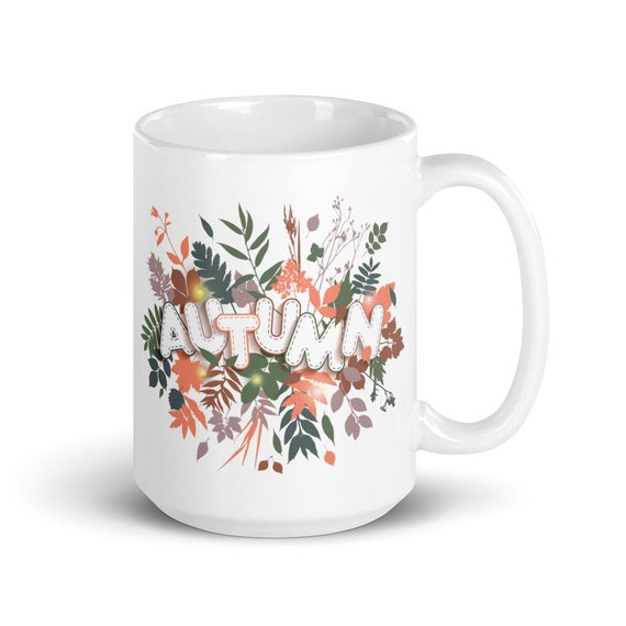 Autumn - Glossy Ceramic Coffee Mug - Hello Autumn - Hello Fall - Seasonal - Leaves - Pretty