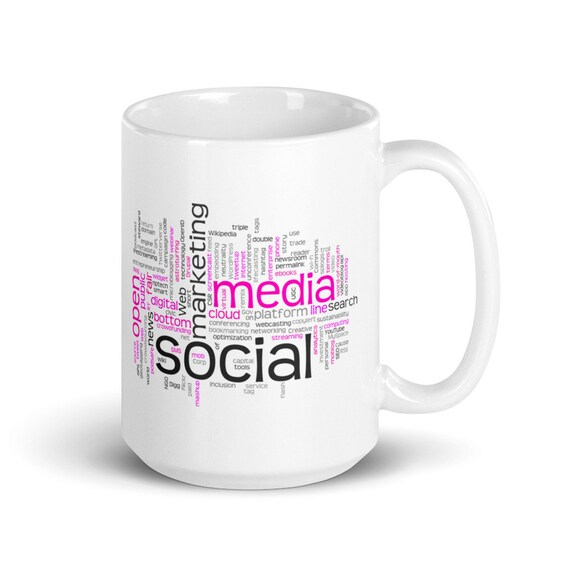 Social Media - Glossy Ceramic Coffee Mug - Tea Mug - Technology Mug - Tech - Virtual - Marketing - Networking