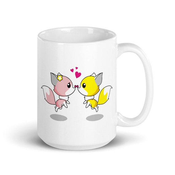 Fox Kiss - Glossy Ceramic Coffee Mug - Tea Mug - Cute Mug - Animal Mug - Foxy - Love - Heart - Valentine's Day - Anniversary - Anime
