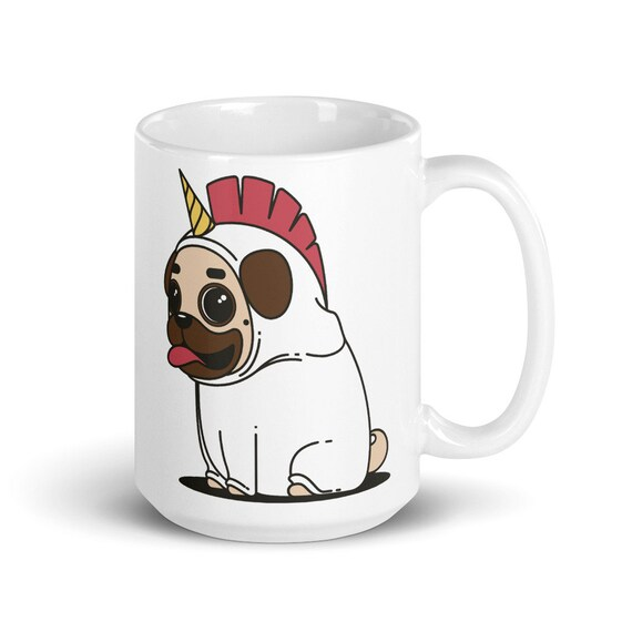 Pugicorn - Glossy Ceramic Coffee Mug - Pug - Dog - Unicorn - Cute - Coffee Lover - Coffee Gifts - Dog Mom - Dog Dad